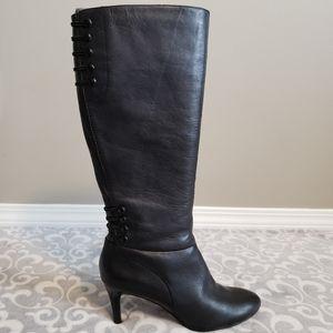 Rinaldi, black, vegan, knee-high boots, size 8M